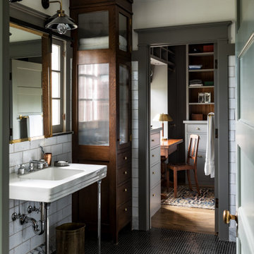 His Bath within Master Suite of a historic Craftsman residence in Santa Monica,