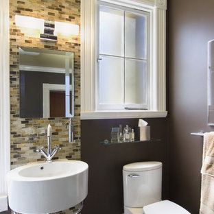 Example of a trendy mosaic tile bathroom design in San Francisco with a wall-mount sink