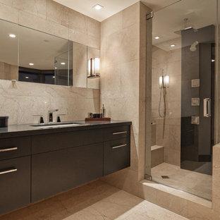 Inspiration For A Huge Modern Master Beige Tile And Marble Floor