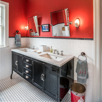 Bathroom - eclectic kids' black and white tile, white tile and subway tile bathroom idea in Philadelphia with furniture-like cabinets, black cabinets, red walls, an undermount sink and marble countertops