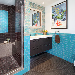 Eclectic subway tile bathroom photo in Los Angeles with an integrated sink