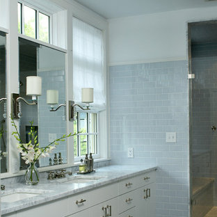 Example of a trendy subway tile bathroom design in Boston with marble countertops and an undermount sink