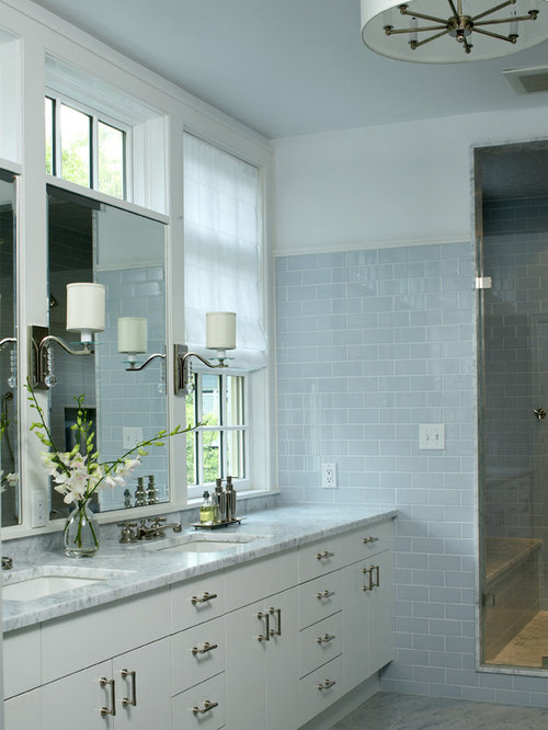 example of a trendy subway tile bathroom design in boston with marble countertops and an undermount