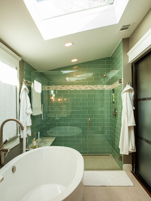 Green glass tile home design ideas pictures remodel and for Arts crafts bathroom design