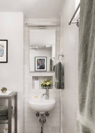space saving ideas for small bathrooms.  New This Week Space Saving Ideas in 3 Small Bathrooms