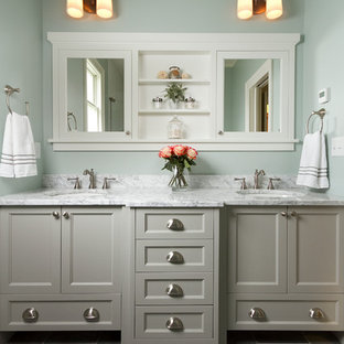 Mid-sized elegant master ceramic tile bathroom photo in Minneapolis with an undermount sink, shaker cabinets, gray cabinets, marble countertops and blue walls