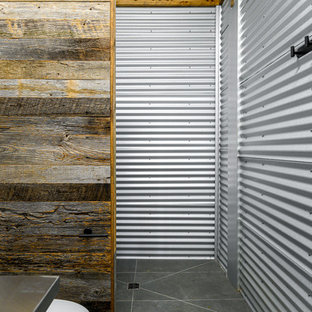 Design ideas for a small industrial bathroom in Other with open cabinets, grey cabinets, a one-piece toilet, gray tile, metal tile, grey walls, slate floors, an integrated sink, stainless steel benchtops, grey floor and grey benchtops.