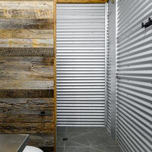 Idee per una piccola stanza da bagno industriale con nessun'anta, ante grigie, WC monopezzo, piastrelle grigie, piastrelle in metallo, pareti grigie, pavimento in ardesia, lavabo integrato, top in acciaio inossidabile, pavimento grigio e top grigio