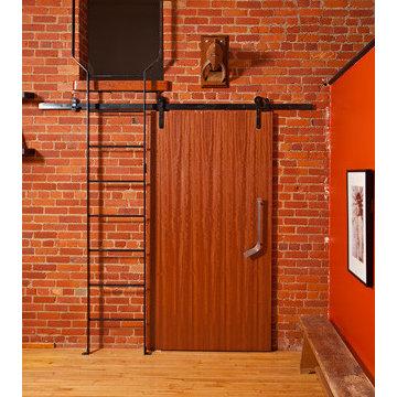Hockey stick style door pulls and handles