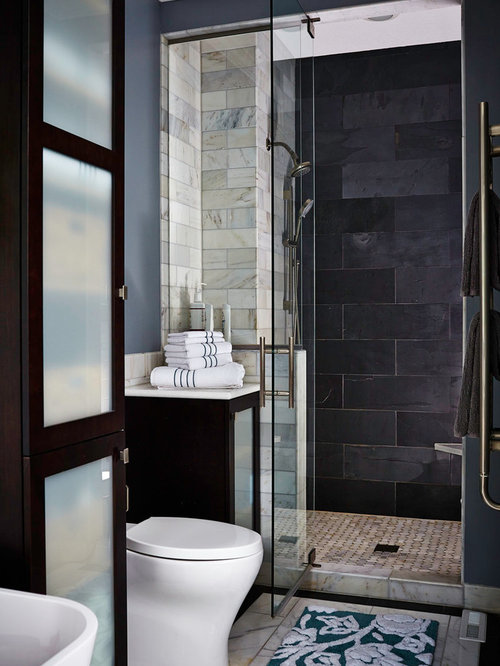 Example Of A Mid Sized Transitional Master Bathroom Design In Other With A Freestanding Tub