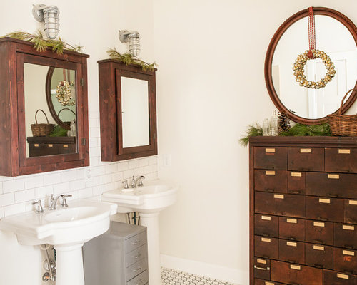 Inspiration for a rustic bathroom remodel in Columbus with a pedestal sink. Pedestal Sink Ideas   Houzz