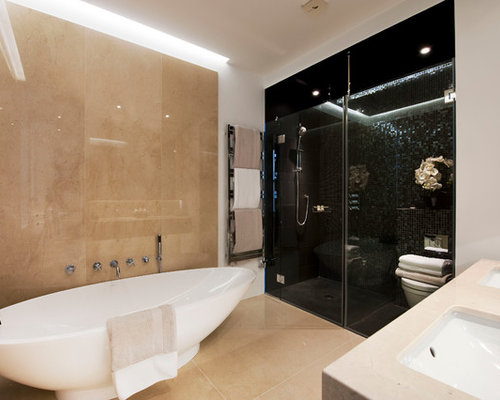 Bathroom design ideas renovations photos with beige cabinets and black tiles - Black and beige bathroom ...