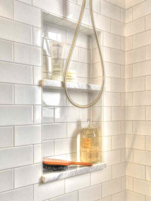 inspiration for a small craftsman master white tile and ceramic tile marble floor bathroom remodel in - Houzz Bathroom Designs