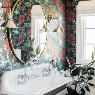 Bathroom - transitional bathroom idea in Los Angeles with multicolored walls and a wall-mount sink