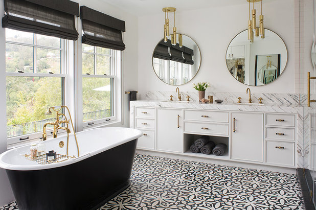 Terrific Glam Black And White Bathroom Overlooks The Hollywood Hills Home Interior And Landscaping Palasignezvosmurscom