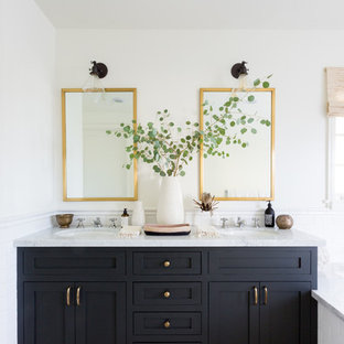 Bathroom - transitional master multicolored floor bathroom idea in Los Angeles with shaker cabinets, black cabinets, white walls and an undermount sink