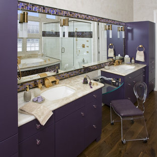 Inspiration for a mid-sized contemporary master bathroom in Sacramento with flat-panel cabinets, an undermount tub, a corner shower, multi-coloured tile, glass tile, beige walls, medium hardwood floors, an undermount sink, onyx benchtops, purple cabinets, a one-piece toilet, brown floor, a hinged shower door and beige benchtops.