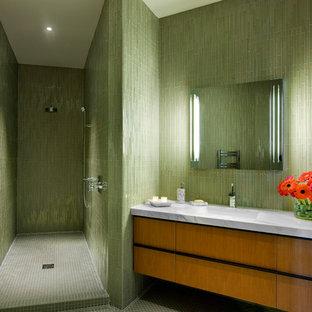 1950s green tile bathroom photo in Santa Barbara with gray countertops