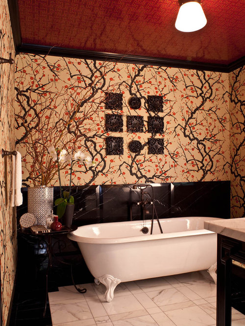 victorian marble floor claw foot bathtub idea in los angeles with multicolored walls - Bathroom Designs Black And Red