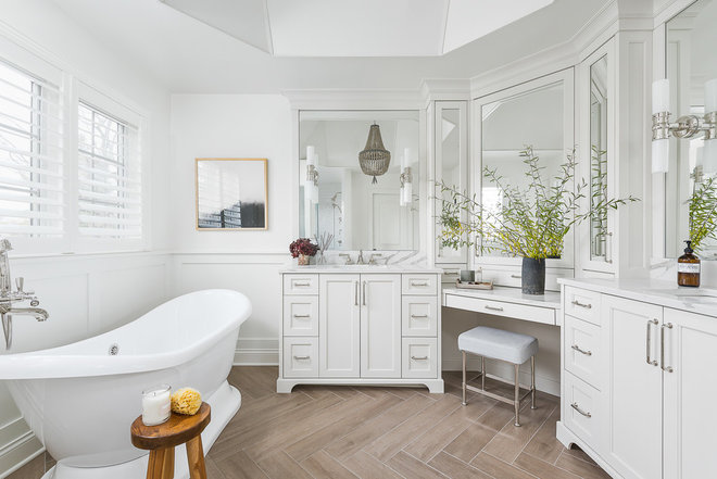 Transitional Bathroom by Plain and Posh