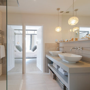 Example of a transitional bathroom design in Other
