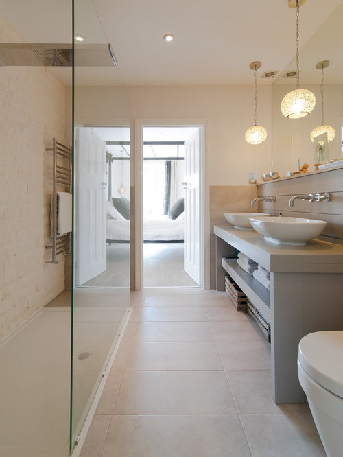 transitional white tile and stone tile bathroom idea in london with a vessel sink open - Bathroom Ideas Cream