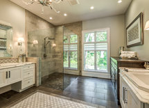 Nice shower...what kind and color of tile was used on wall & floor?