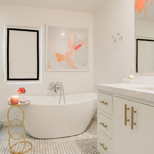 Alcove shower - transitional white tile mosaic tile floor alcove shower idea in Dallas with an undermount sink, flat-panel cabinets, white cabinets and white walls