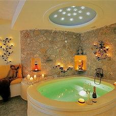Mediterranean Bathroom Honeymoon suite private couples Jacuzzi sea   Astarte Suites in Santorini