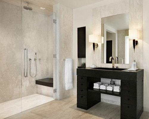 Bathroom design ideas renovations photos with black for Black and beige bathroom ideas