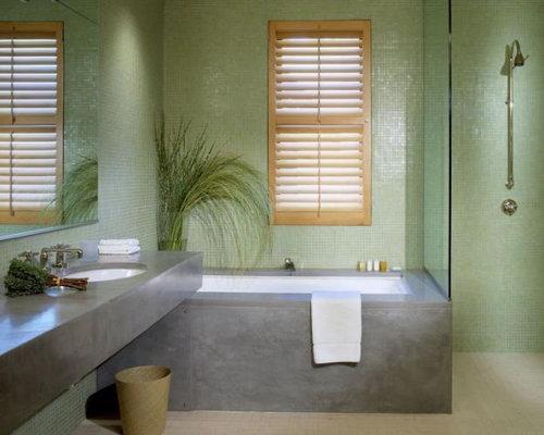 Green grey bathroom houzz for Gray and green bathroom