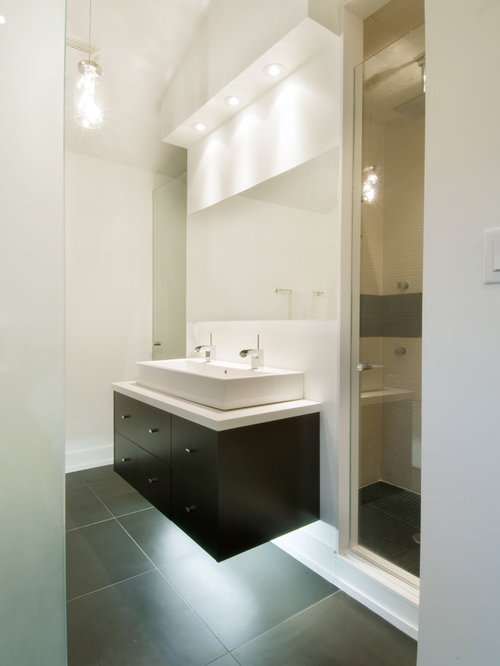 Contemporary Gray Tile Bathroom Idea In Toronto With A Trough Sink,  Flat Panel Cabinets