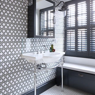 Inspiration for a classic bathroom in London with multi-coloured walls and a console sink.