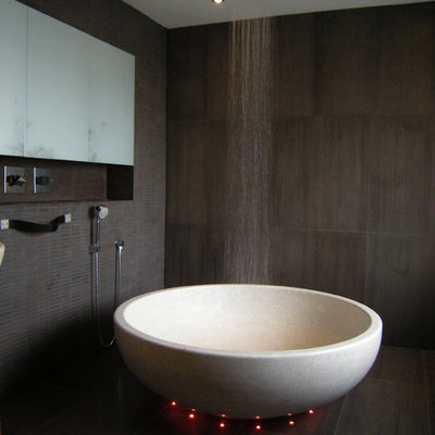 Inspiration for a contemporary freestanding bathtub remodel in Dublin