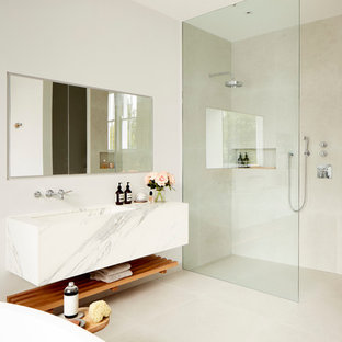 Bathroom   Contemporary Beige Tile Bathroom Idea In London With White Walls  And A Trough Sink