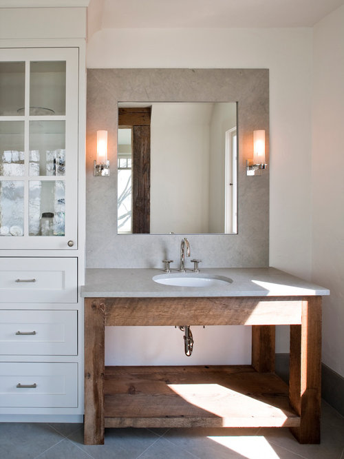 Beach Style Bathroom Idea In New York With An Undermount Sink, White Walls,  Distressed