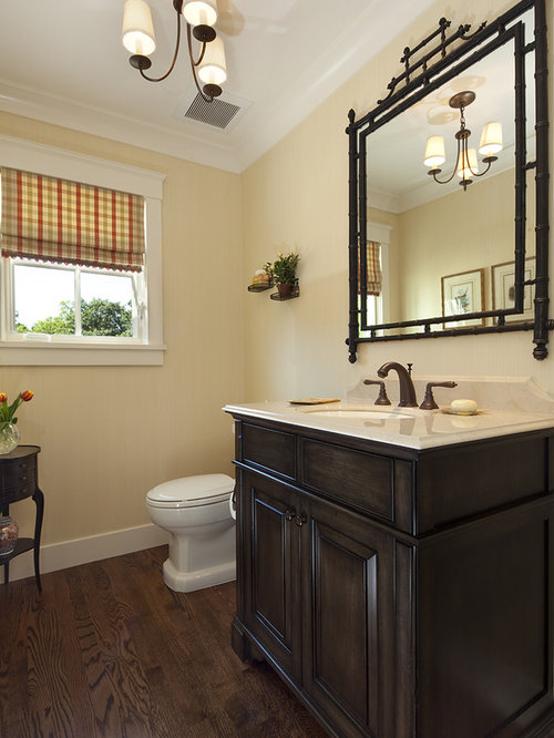 Inspiration for a timeless bathroom remodel in San Francisco with dark wood  cabinets