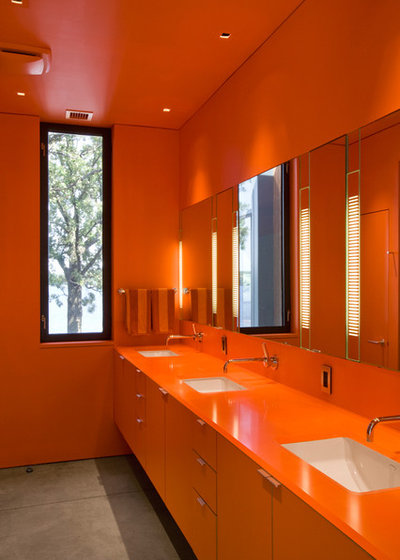 Orange Bathroom Bathed In Color When To Use Bold Orange In The Bath