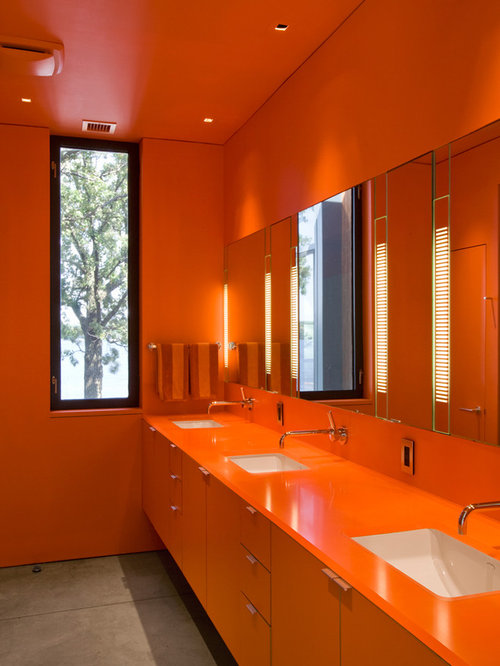 Brown and orange bathroom home design ideas pictures for Orange and brown bathroom ideas