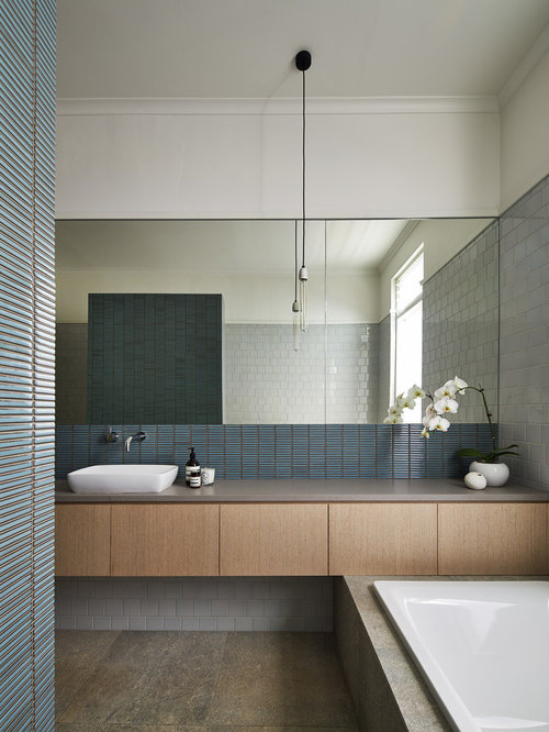 this is an example of a contemporary bathroom in melbourne with a vessel sink flat - Matchstick Tile Bedroom Decor