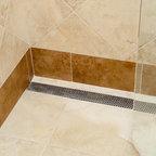 Linear Drain In Walk In Shower Tropical Bathroom