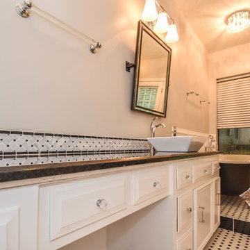 Houston Bathroom Remodel - Long & Narrow, Black & White