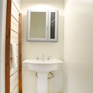 Farmhouse bathroom photo in Columbus with a pedestal sink
