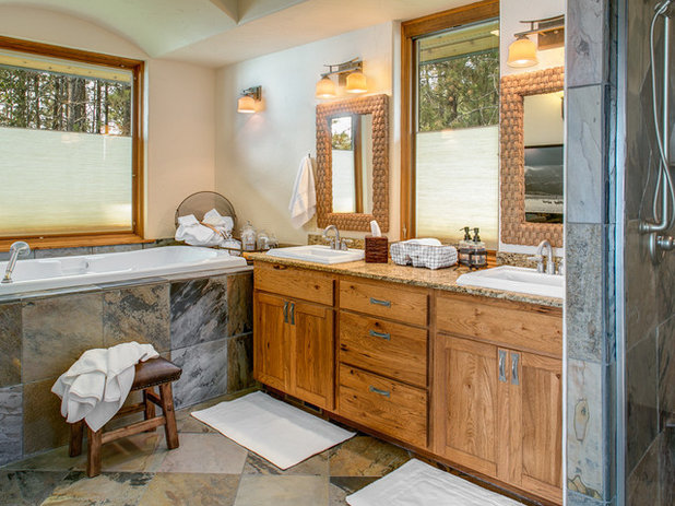 Rustic Bathroom Houzz Tour: Local Idaho Flavor Balances Rustic and Luxe