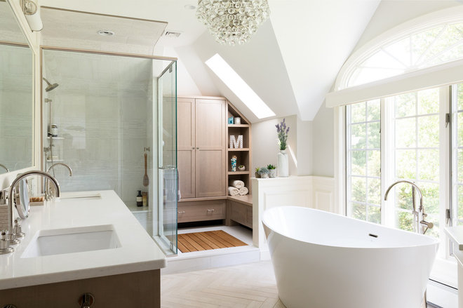 Transitional Bathroom by Emily O'Brien Photography