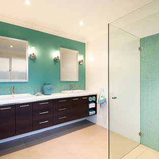 Example of a trendy master green tile and mosaic tile porcelain floor and beige floor walk-in shower design in Sydney with a drop-in sink, flat-panel cabinets, dark wood cabinets, white walls and engineered quartz countertops