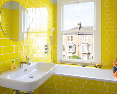 inspiration for a small traditional ensuite bathroom in london with a built in bath - Bathroom Ideas Metro Tiles