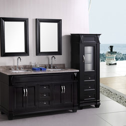 """Hudson 60"""" Double Bathroom Vanity set - The 60"""" Hudson Vanity is elegantly constructed of solid oak wood. The Badel Gray Marble counter top's classic beauty and the transitional-styled cabinetry bring a sophisticate look to any bathroom."""
