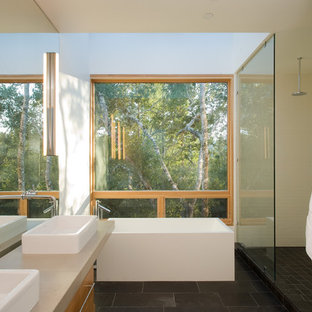Bathroom - mid-sized modern master bathroom idea in San Francisco with a vessel sink, flat-panel cabinets and light wood cabinets