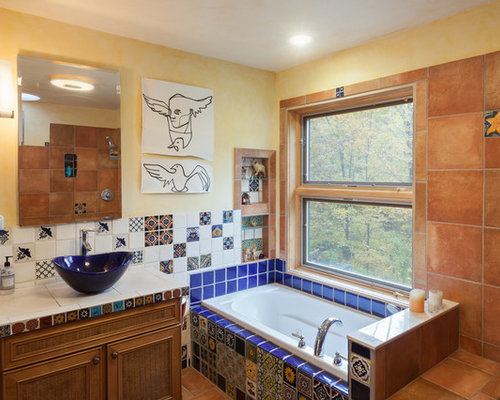 Example Of An Eclectic Blue Tile Multicolored Tile And Orange Tile Drop In Bathtub